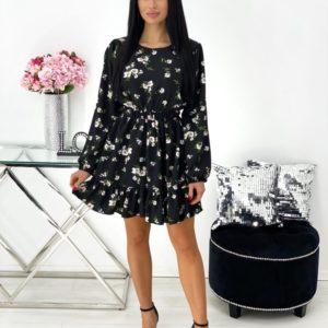 Приобрести черное женское цветочное платье с рюшами и длинным рукавом (размер 42-48) выгодно