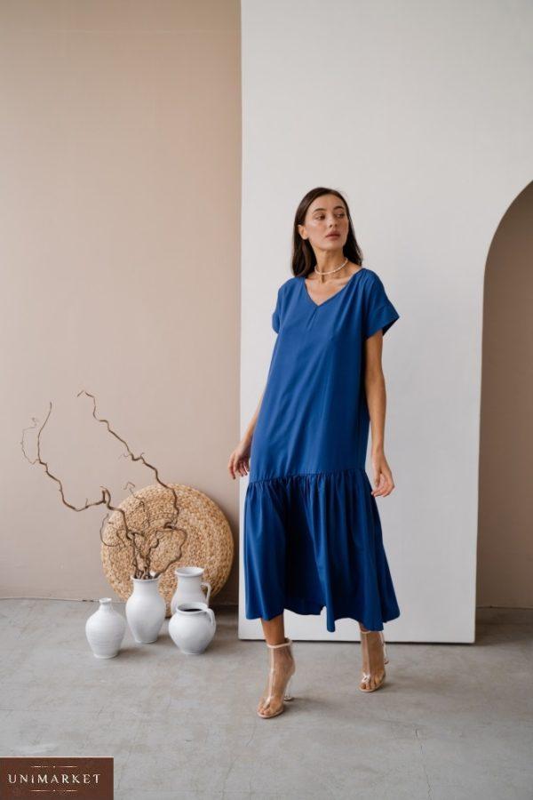 Купить электрик платье миди для женщин оверсайз с поясом в Украине