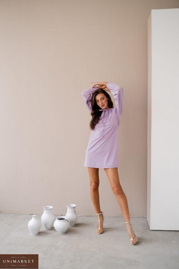 Заказать выгодно женское платье мини с длинным рукавом с завязкой (размер 42-48) лаванда