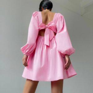Купить в интернете женское летнее хлопковое платье с длинным рукавом розового цвета