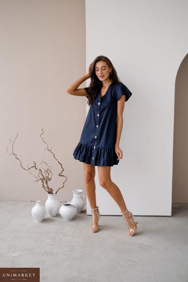 Заказать онлайн синее женское платье-рубашка из тонкого коттона в Украине