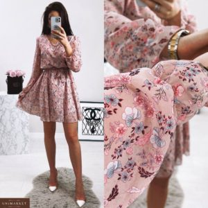 Купить по скидке пудра женское шифоновое платье с цветочным принтом (размер 42-48)