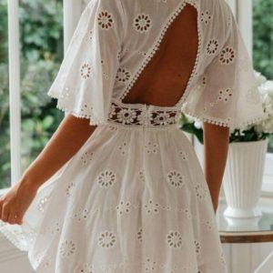 Заказать белое платье из прошвы для женщин с открытой спиной выгодно