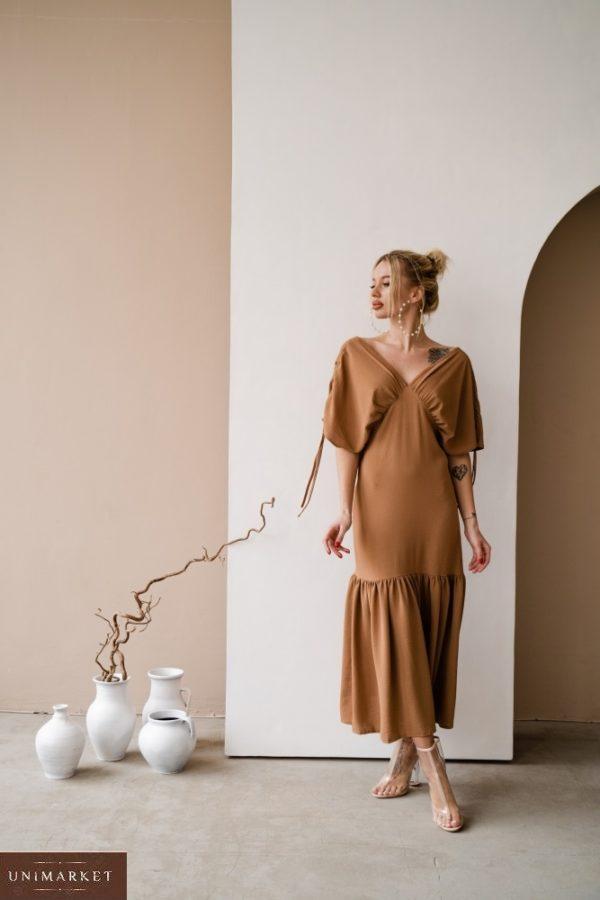 Купить по низким ценам женское платье со сборками на плечах из жатого хлопка (размер 42-48) коричневого цвета