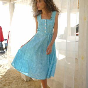 Приобрести женское летнее платье в клетку (размер 42-54) голубое онлайн