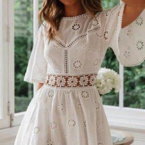 Купить дешево белое платье из прошвы с открытой спиной для женщин