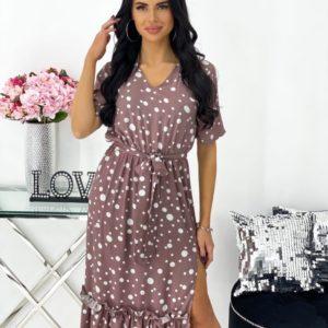 Приобрести женское платье миди из штапеля в горох (размер 42-48) цвета кофе дешево