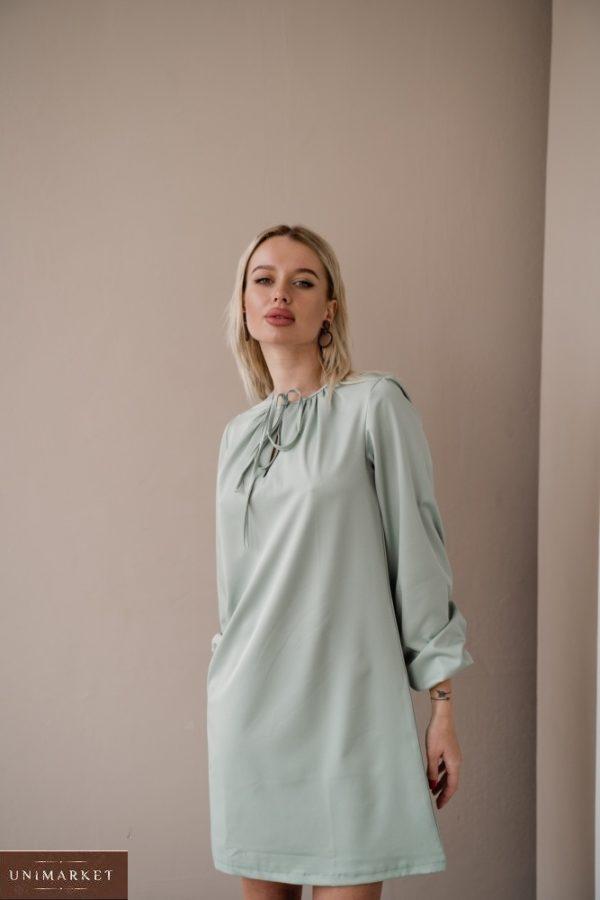 Купить цвета фисташка платье мини с длинным рукавом с завязкой для женщин (размер 42-48) дешево