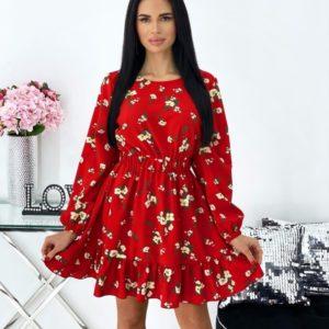 Купить по скидке красное цветочное платье с рюшами и длинным рукавом (размер 42-48) женское