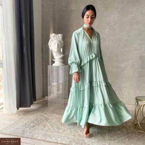 Заказать оливковое женское длинное платье с рюшами в Украине