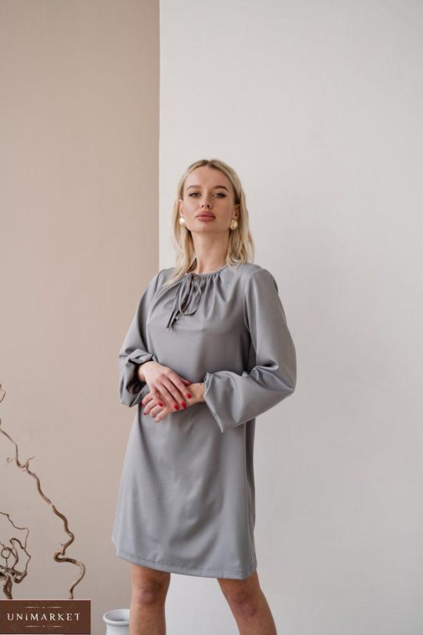Купить женское платье серого цвета мини с длинным рукавом с завязкой (размер 42-48) по низким ценам