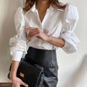 Заказать в интернете женскую рубашку с длинными рукавами-колокольчиками белого цвета