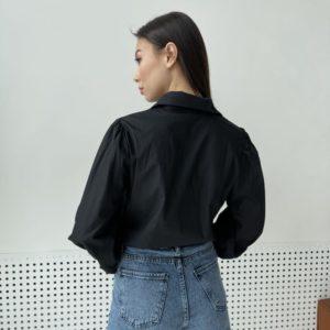 Заказать черного цвета для женщин рубашку с декором на воротнике онлайн