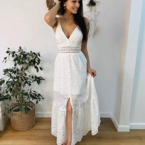 Купить по скидке белый летний сарафан женский из прошвы с разрезом