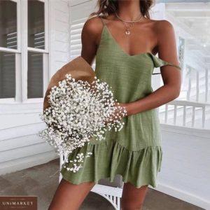 Купить онлайн оливковый летний сарафан из льна на бретельках для женщин
