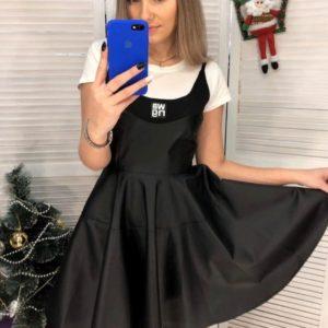 Купить женское черное кожаное платье на бретельках в Украине