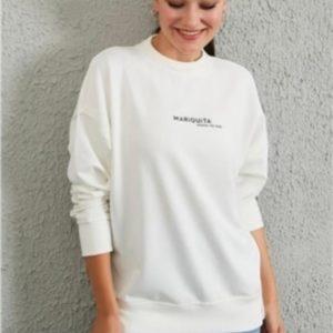 Купить белый базовый женский свитшот свободного кроя для женщин