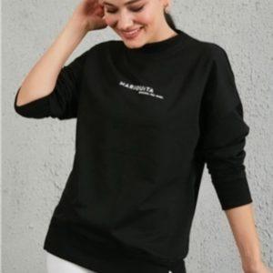 Купить черного цвета женский базовый свитшот свободного кроя онлайн