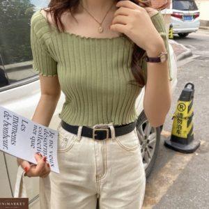 Купить оливкового цвета женский топ с открытыми плечами с коротким рукавом по низким ценам