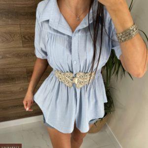 Купить в интернете женскую тунику-рубашку с поясом голубого цвета