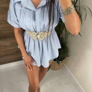Приобрести голубую женскую тунику-рубашку с поясом онлайн