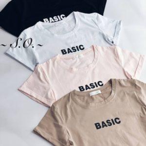 Заказать онлайн черную, пудра, мокко, белую футболку Basic для женщин