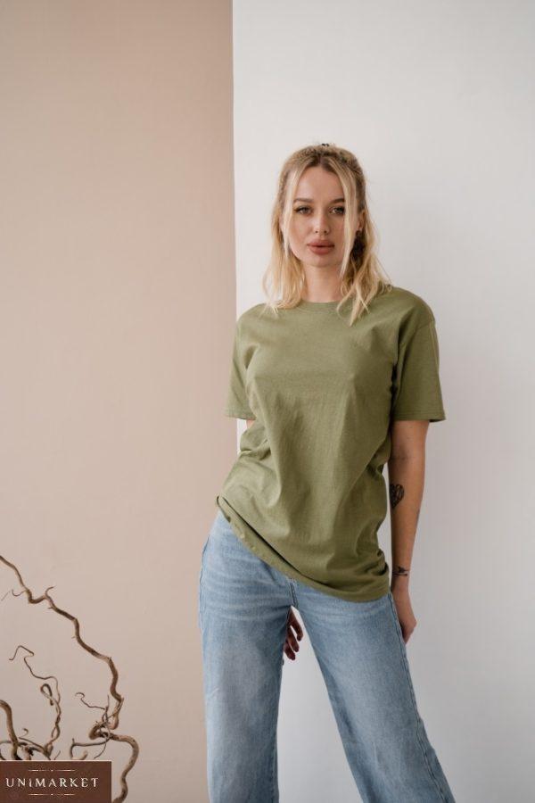 Заказать оливка футболку женскую базовая прямого кроя по скидке