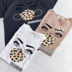 Приобрести женскую принтованную футболку Honey Story в интернете серую, мокко, белую