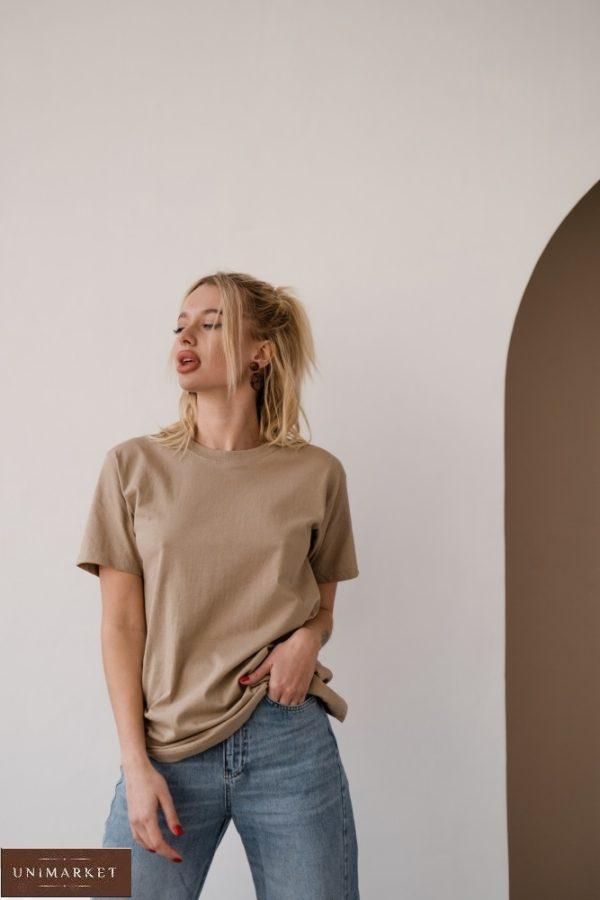 Приобрести недорого бежевого цвета футболку базовая прямого кроя для женщин