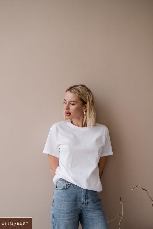 Заказать белого цвета футболку базовая прямого кроя для женщин недорого