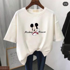 Купить женскую футболку белого цвета Mickey Mouse выгодно