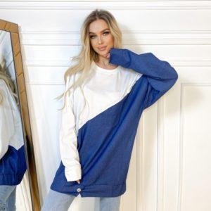 Купить недорого белое удлиненное худи с джинсовой вставкой для женщин