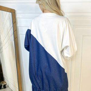 Приобрести женское белое удлиненное худи с джинсовой вставкой в Украине