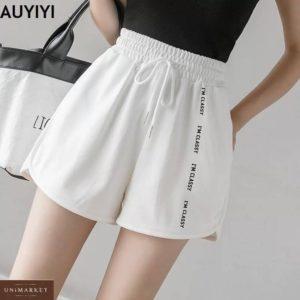 Приобрести белого цвета женские трикотажные шорты с надписью в интернете