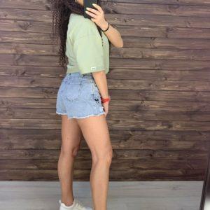 Придбати за знижку жіночі джинсові шорти з Міккі Маусом блакитного кольору