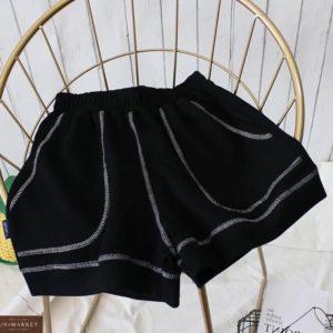 Приобрести черные женские шорты с контрастной отделкой по скидке
