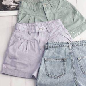 Придбати недорого жіночі короткі джинсові шорти з защипами блакитні, лілові, м'ята