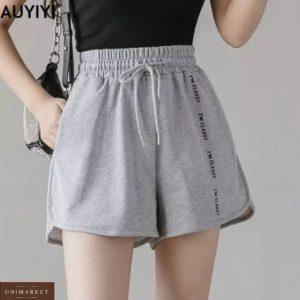Купить недорого женские трикотажные шорты с надписью серые