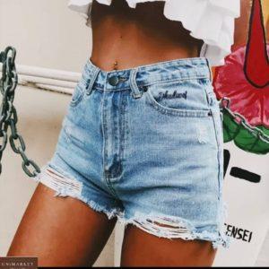 Купить по низким ценам женские шорты из джинса с надписью голубого цвета