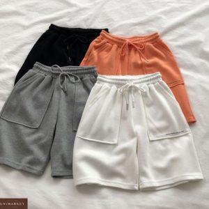 Купить черного цвета женские трикотажные шорты с карманами по низким ценам