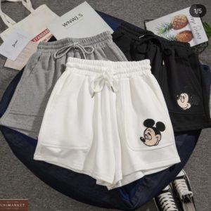 Купить белые, серые, черные шорты с Микки Маусом для женщин в Украине