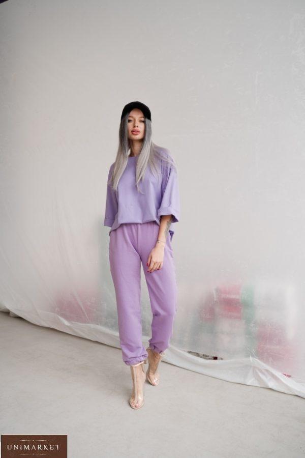 Купить лавандовые однотонные штаны из двунитки (размер 42-48) недорого для женщин