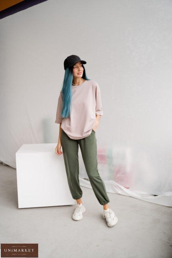 Заказать женские однотонные штаны из двунитки цвета хаки (размер 42-48) по скидке