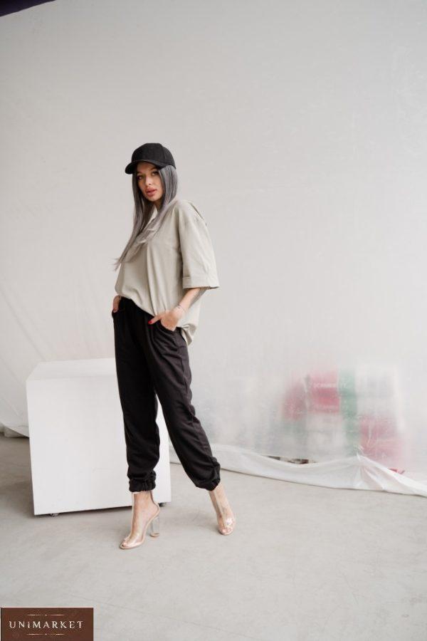 Купить в интернете женские однотонные штаны из двунитки (размер 42-48) черного цвета