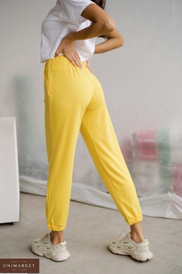 Заказать желтые женские однотонные штаны из двунитки (размер 42-48) в Украине онлайн