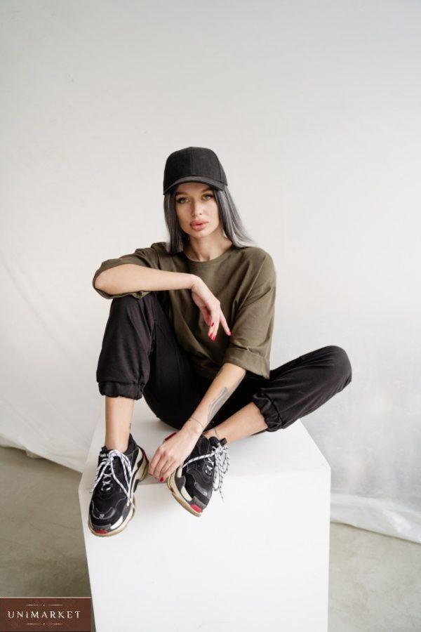 Приобрести черного цвета женские однотонные штаны из двунитки (размер 42-48) недорого