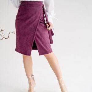 Заказать недорого марсал замшевую юбку на запах (размер 42-48) для женщин