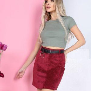 Приобрести бордовую женскую вельветовую юбку мини с поясом по низким ценам