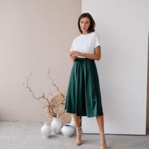 Заказать женскую на лето цвета бутылка юбку из шёлка армани (размер 42-48) в Украине