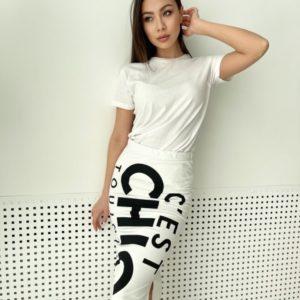 Купить онлайн белую трикотажную юбку chik для женщин